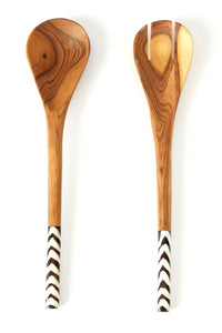 Olive Wood Bone Salad Servers