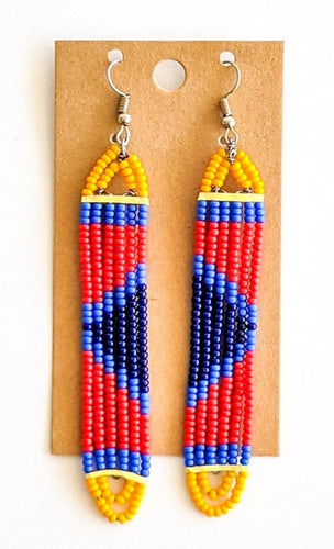 Red Blue African Bead Earrings