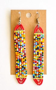 Red Multi Color African Bead Earrings