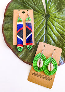 Blue Green African Bead Earrings