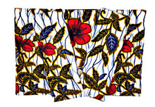 White Red Flower Ankara Fabric Placemats - Set of 6