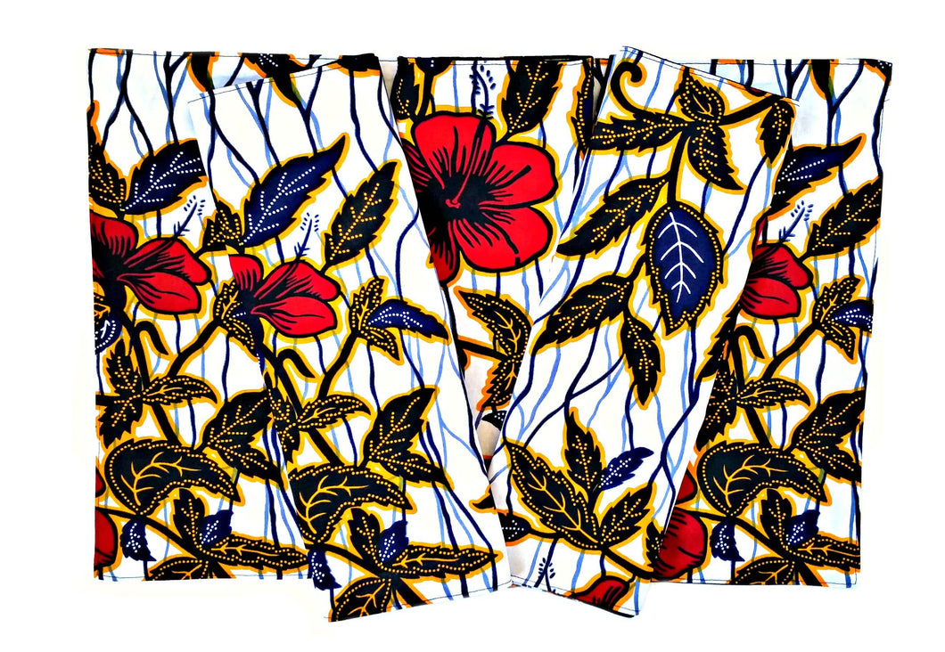 Red Flower African Print Fabric Placemats or Runner