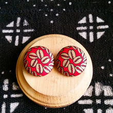 Red Gold Cowrie African Print Fabric Button Earrings
