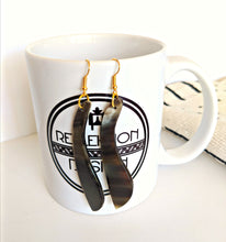Brown & Black African Cow Horn Long Earrings