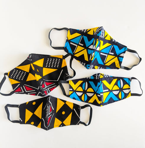 ankara african print fabric red blue yellow face masks
