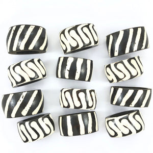Batik Bone Napkin Rings - Set of 4