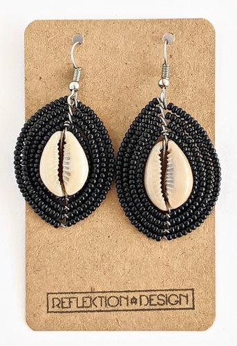 Black African Bead Earrings With Cowrie Shells