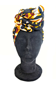 Mud Cloth Print Leopard Head Wrap (Slight Imperfection)