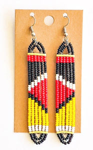 Black Yellow African Bead Earrings
