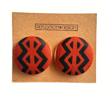 Brown Tribal African Print Fabric Button Earrings Large