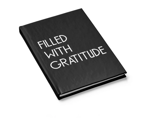 Black Filled With Gratitude Hard Cover Journal Lined