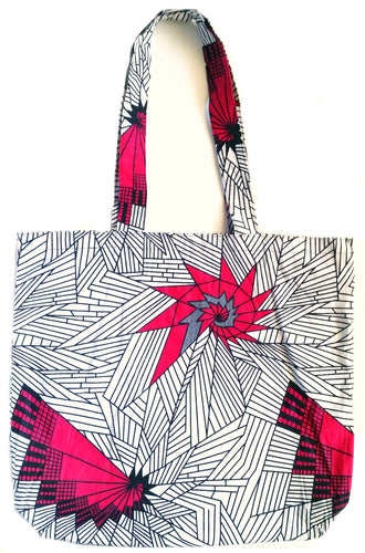 White Fuchsia Abstract African Print Fabric Tote Bag