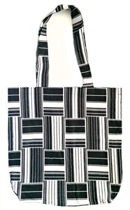 Black White Kente Cloth Print Ankara Fabric Tote Bag