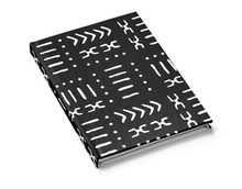 black mud cloth hard cover journal lined