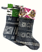 Black Mud Cloth Christmas Stocking Green Ankara Lining