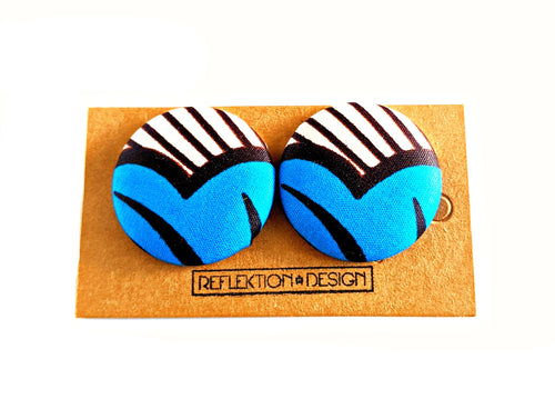 Blue Hearts Ankara Fabric Button Earrings