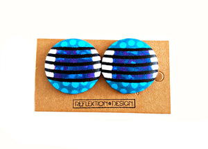 Lines Ankara Fabric Button Earrings