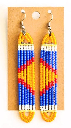Orange Blue African Bead Earrings