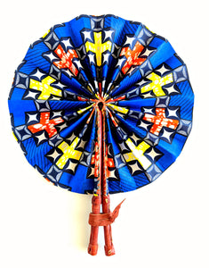 Blue Yellow Ankara Folding Fan