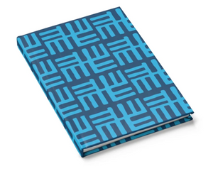 blue african pattern hard cover journal lined