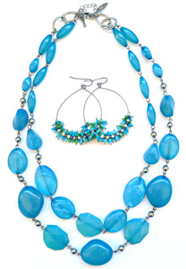 Blue Bead Necklace Earring Set