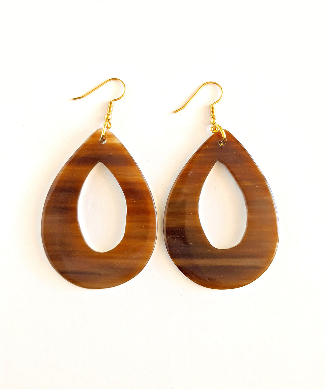 Brown African Cow Horn Hoop Earrings