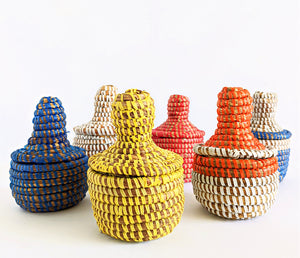 Small Woven African Baskets With Lid