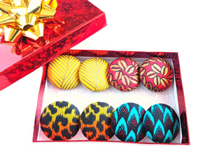 Turquoise Red Flame Ankara Button Earrings
