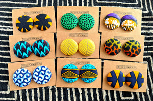 Tribal Ankara Fabric Button Earrings