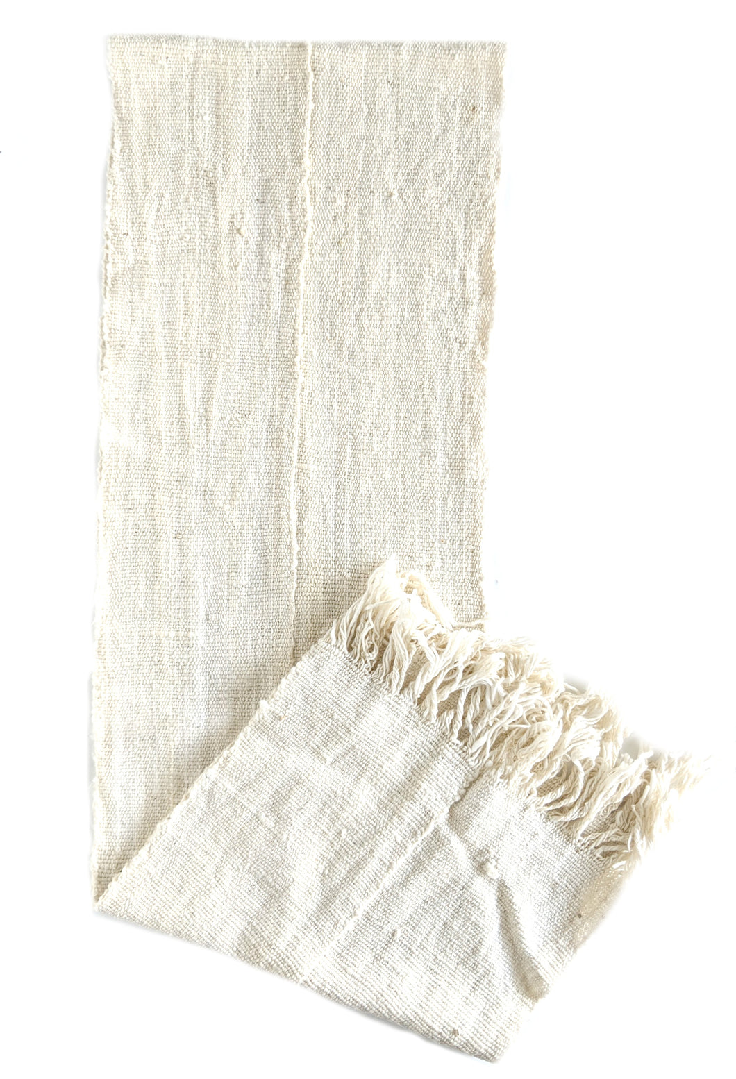 Soft White Mud Cloth Scarf or Runner