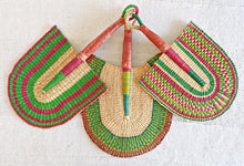 Red Green Woven Fans Set of 3