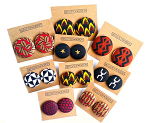 Red Gold African Print Fabric Button Earrings