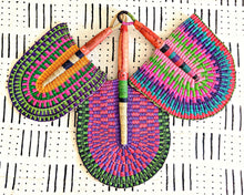 Pink Green Multi Woven Fan