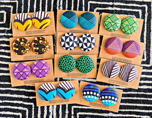 Purple Gold Ankara Fabric Button Earrings