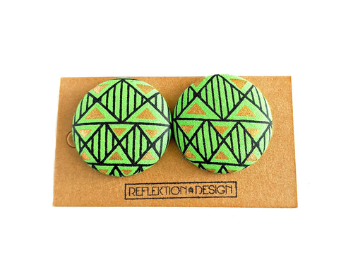 Green Gold Ankara Fabric Button Earrings