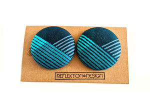 Dark Teal Ankara Fabric Button Earrings
