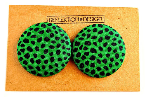 Green Black Ankara Fabric Button Earrings