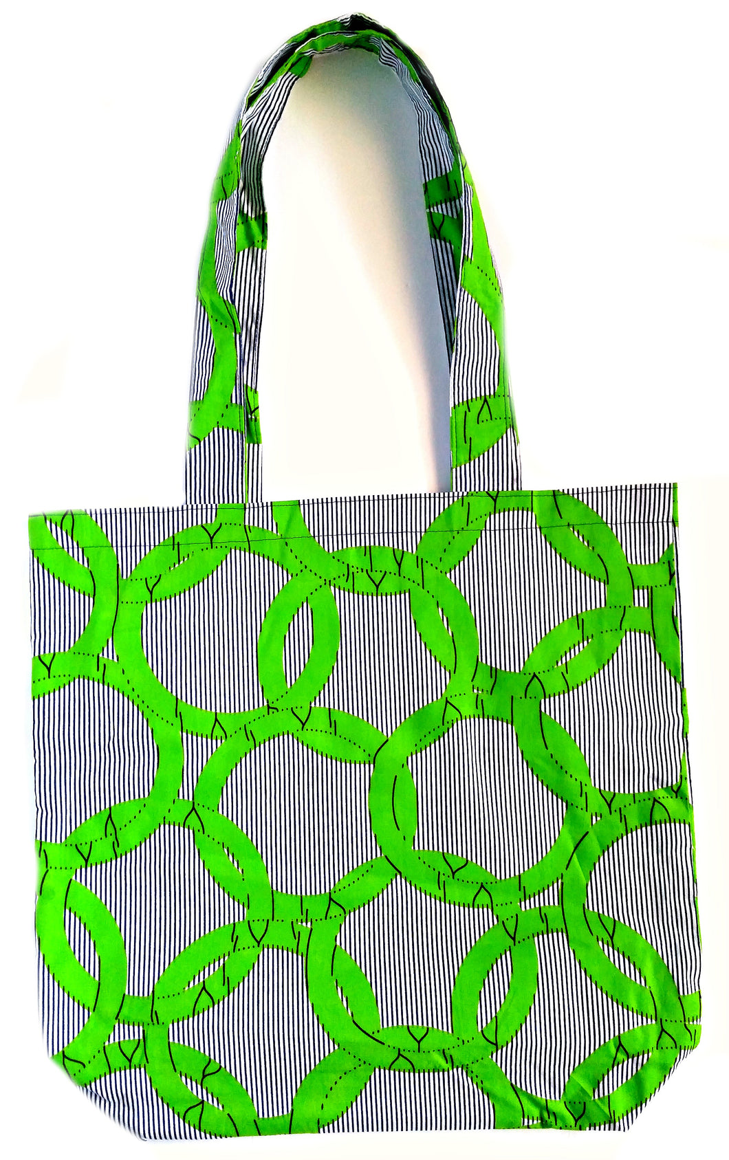 Green Circles African Print Fabric Tote Bag