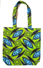 Green Blue African Print Fabric Reversible Tote Bag