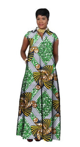 Green Yellow Ankara African Print Fabric Maxi Shirt Dress