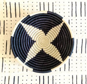 Black White Woven African Baskets Large