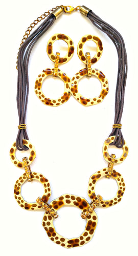 Leopard Necklace Earring Set