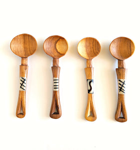 Mini Olive Wood Spoons Bone Inlay