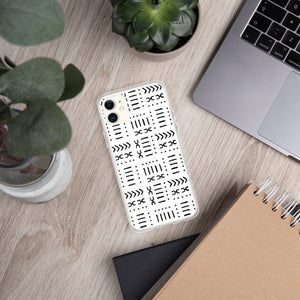 White Mud Cloth iPhone Case