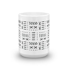 White & Black Mud Cloth Inspired Coffee Mug 15 oz