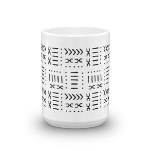 15 oz White & Black Mud Cloth Inspired Coffee Mug