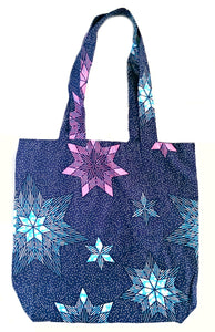 Blue Pink Stars African Print Fabric Tote Bag