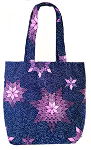 Pink Stars African Print Fabric Tote Bag