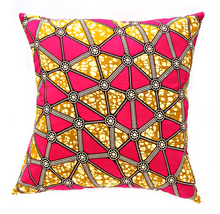 Pink Brown Ankara Fabric Pillow Cover