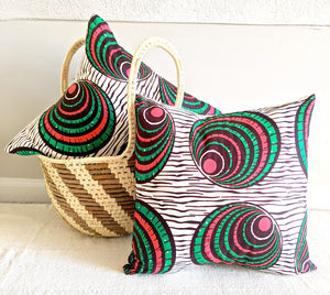 Pink Green Ankara Fabric Pillow Covers - Set of 2